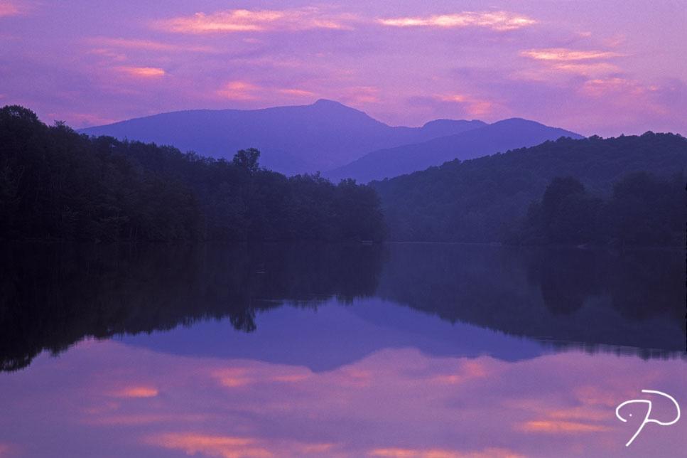 Beautiful sunset over Price Lake near Blowing Rock, North Carolina.